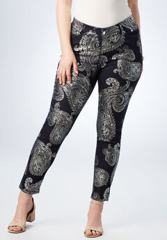 Foil Print Jean with Invisible Stretch® by Denim 24/7®, SILVER EXPLODED PAISLEY, hi-res