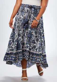 Border Print Skirt With High-Low Hem, BLUE PRINT, hi-res