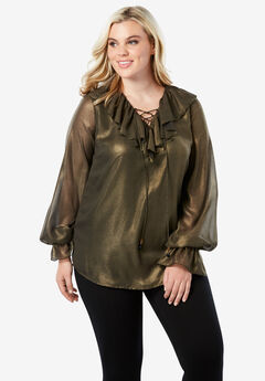 Ruffle Lace-Up Top, GOLD