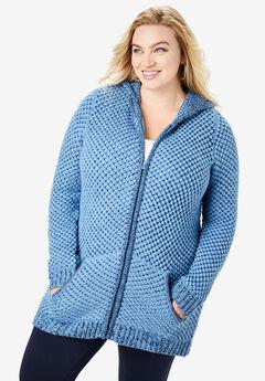Tweed Thermal Hoodie Cardigan, SAPPHIRE ICE NAVY