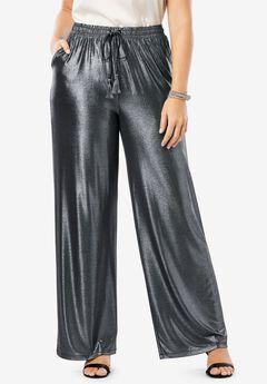 Metallic Wide-Leg Pant,
