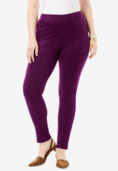 Faux Suede Legging, DARK BERRY