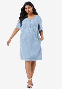 Embellished Denim Shirtdress,