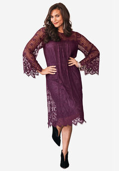 Lace Bell-Sleeve Dress with Eyelash Trim,