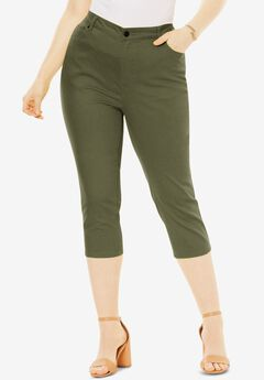 Denim Capri with Invisible Stretch® by Denim 24/7®, DARK OLIVE GREEN