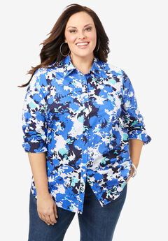 Long-Sleeve Kate Shirt, BLUE GRAPHIC FLORAL