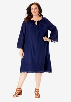 Embroidered Hem Dress with A-Line Silhouette, NAVY