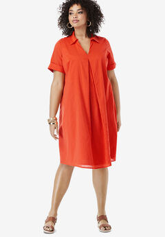 Collared Swing Dress, FLAME RED