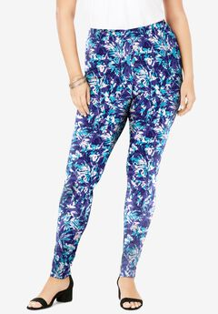 Ankle-Length Essential Stretch Legging, BLUE SUMMER LEAVES