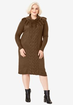 Fringed Cowl-Neck Sweater Dress,