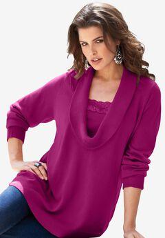 Lace-Trim Cowl Neck Sweater,