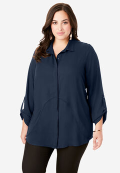 Georgette Overlay Big Shirt, NAVY