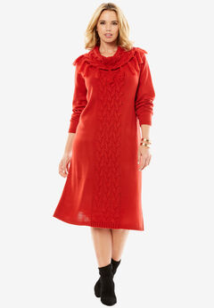 Cable Knit Sweater Dress, PEPPER RED, hi-res