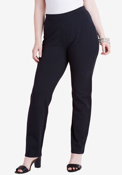 Straight Leg Ultimate Ponte Pant, BLACK, hi-res
