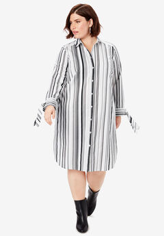 Tie-Sleeve Kate Shirtdress, BLACK MULTI STRIPE