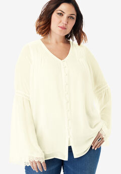 Chiffon Bell Sleeve Top with Lace, IVORY