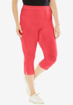 Stretch Capri Leggings, CORAL RED, hi-res