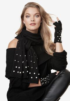 Pearl-Embellished Scarf and Fingerless Glove Set, BLACK, hi-res