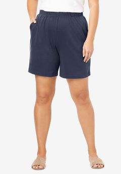 Soft Knit Shorts, NAVY