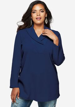 Thermal Shawl Collar Tunic, EVENING BLUE, hi-res