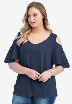 Ruffle-Sleeve Top with Cold Shoulder Detail, NAVY