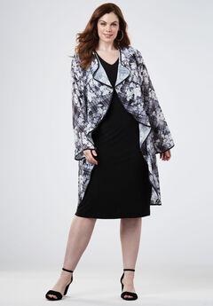 High-low Jacket Dress, GRAY BOTANICAL PLAID, hi-res