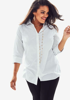 Three-Quarter Sleeve Kate Shirt, WHITE