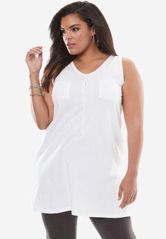 Two-Pocket Henley Maxi Tank, WHITE, hi-res