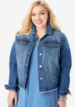 Rhinestone Denim Jacket, MEDIUM STONEWASH