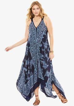 Scarf Print Maxi Dress, NAVY PAISLEY PRINT, hi-res