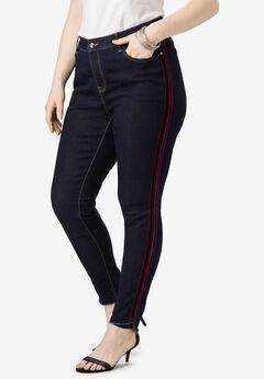 Side-Stripe Skinny Jean By Denim 24/7®, VELVET STRIPE