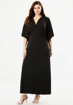 Flutter-Sleeve Maxi Dress, BLACK