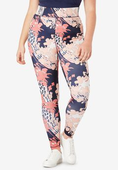 Performance Legging with Wide Waistband, NAVY MIX FLORAL