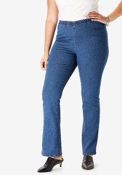 Bootcut Pull-On Stretch Jean by Denim 24/7®, MEDIUM STONEWASH SANDED