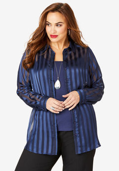 Georgette Tunic, NAVY STRIPE