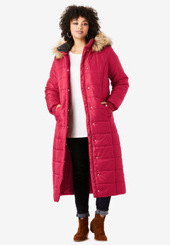 Maxi-Length Quilted Parka with Hood, CLASSIC RED