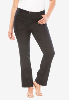 5-Pocket Bootcut Jeans with Invisible Stretch® by Denim 24/7®, BLACK DENIM, hi-res