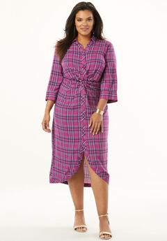 Knot-Front Shirtdress with Button Front, MAGENTA BIAS PLAID PRINT