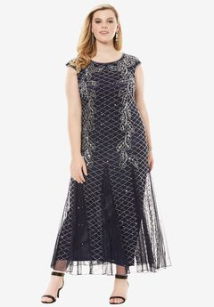 Long Beaded Dress by Pisarro Nights, NAVY SILVER, hi-res