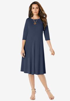 Ultrasmooth® Boatneck Swing Dress, NAVY
