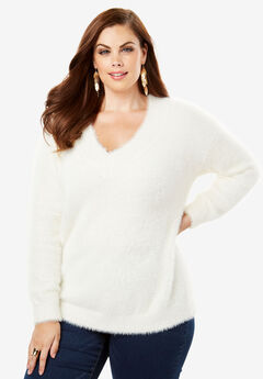 Textured V-neck Sweater with Blouson Sleeves,