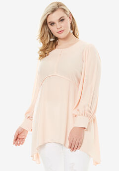 High-Low Hem Tunic Blouse, PALE BLUSH, hi-res