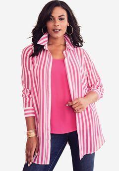 Georgette Shirt, PASSION PINK STRIPE, hi-res