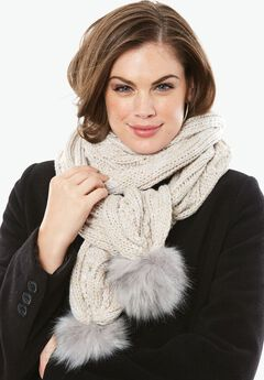 Cable Knit Scarf, HEATHER OATMEAL, hi-res
