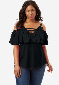 Lace Cold Shoulder Top, BLACK, hi-res