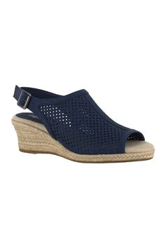 Stacy Sandal by Easy Street®, DENIM LINEN PRINT, hi-res