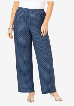 Wide-Leg Pant, NAVY BLUE GEO