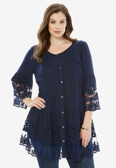 Illusion Lace Tunic, NAVY, hi-res