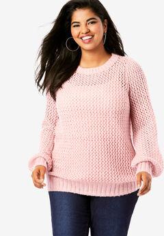 Metallic Openwork Sweater,