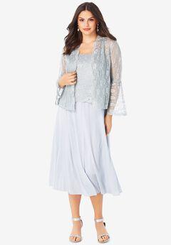 Glitter & Lace Jacket Dress Set,